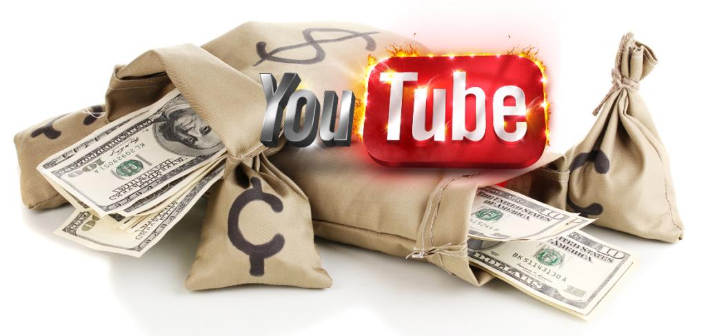 Мешки с деньгами на фоне логотипа Youtube